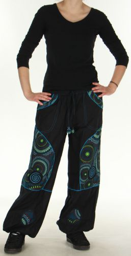 Pantalon femme Ethnique et Original du Népal Kerim Bleu 275567