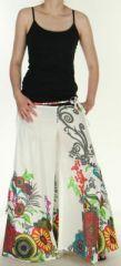 Pantalon femme ethnique et original tr�s ample Blanc Aaron 273185