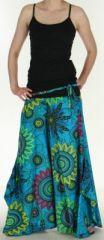 Pantalon femme ethnique et original tr�s ample Bleu Aaron 273187