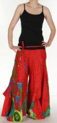 Pantalon femme ethnique et original tr�s ample Rouge Aaron 273179
