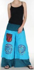 Pantalon femme ethnique et original très large Bleu Clair Lylian 273045