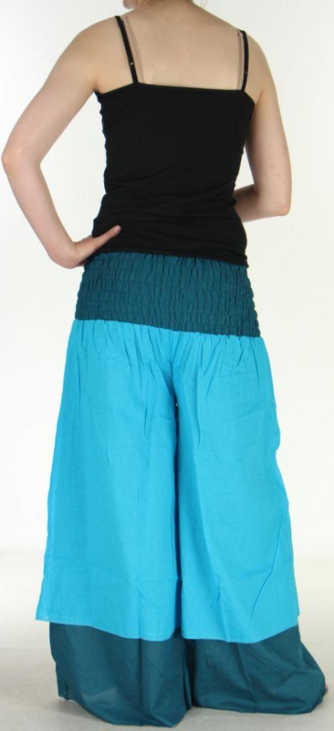 Pantalon femme ethnique et original très large Bleu Clair Lylian 273046