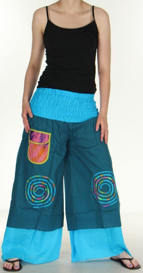Pantalon femme ethnique et original très large Bleu Fonçé Lylian 273049