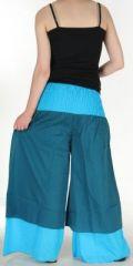 Pantalon femme ethnique et original très large Bleu Fonçé Lylian 273050