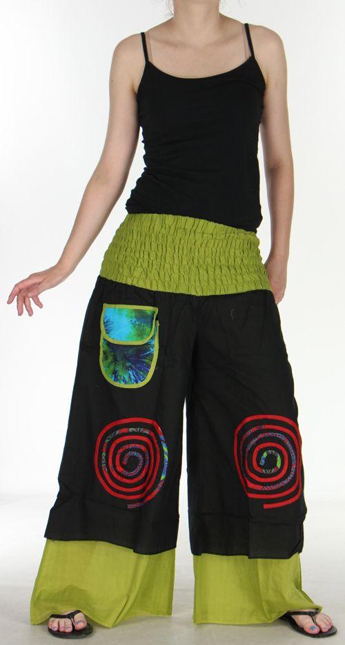 Pantalon femme ethnique et original très large Noir et Vert Lylian 273047