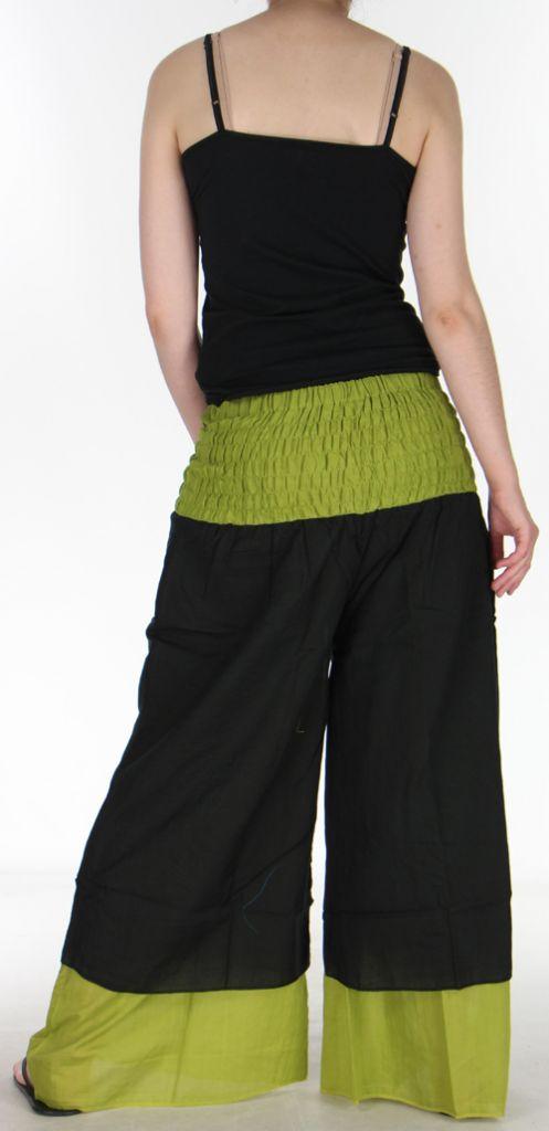 Pantalon femme ethnique et original très large Noir et Vert Lylian 273048