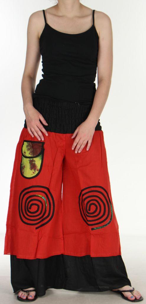 Pantalon femme ethnique et original très large Rouge Lylian 273043