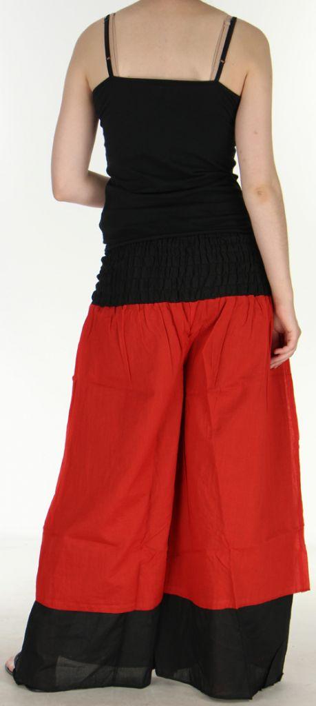 Pantalon femme ethnique et original très large Rouge Lylian 273044