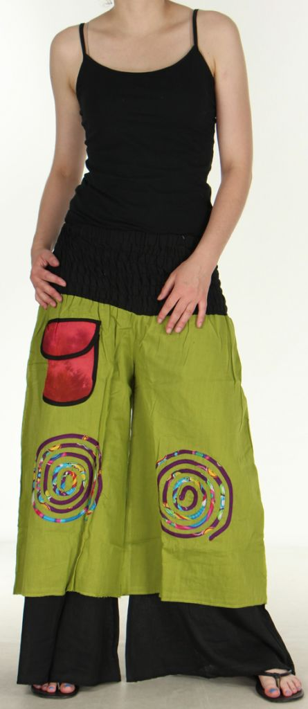 Pantalon femme ethnique et original très large Vert Lylian 273041