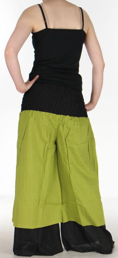 Pantalon femme ethnique et original très large Vert Lylian 273042