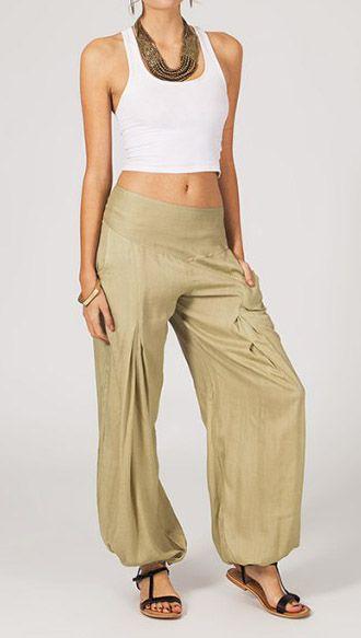 Pantalon femme fluide beige Danny 268055