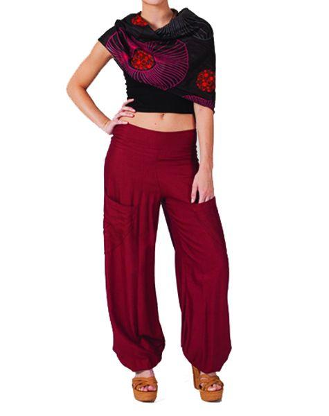 Pantalon femme fluide bordeaux Cédric 267550