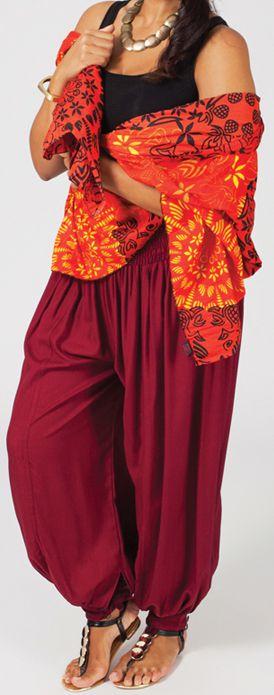 Pantalon femme grande taille type Aladin Edene Bordeaux 274800