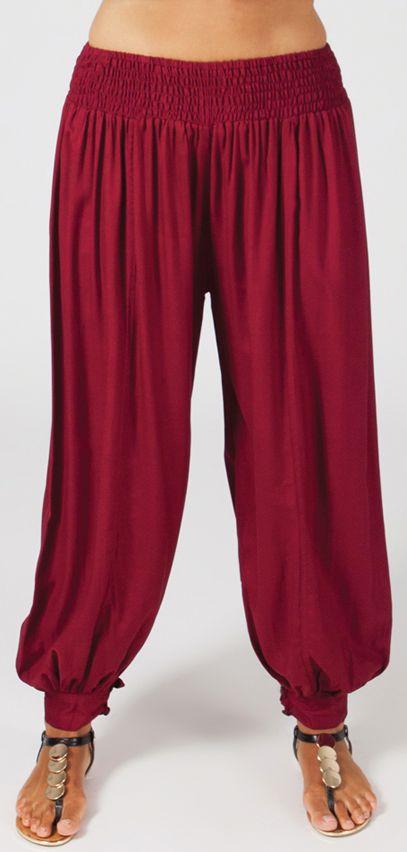Pantalon femme grande taille type Aladin Edene Bordeaux 274802