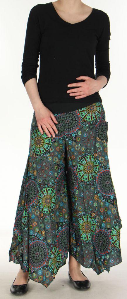 Pantalon femme imprimé coupe extra large noir Ameline 270548