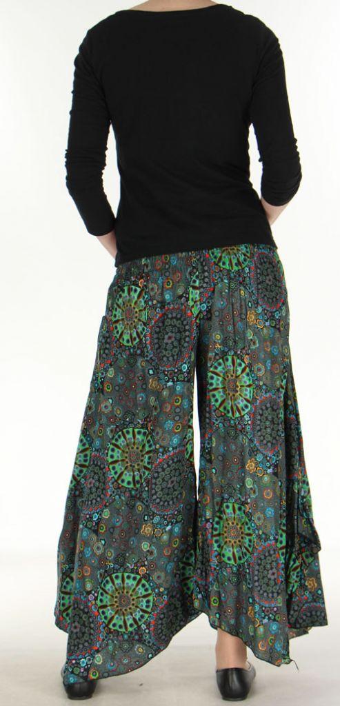 Pantalon femme imprimé coupe extra large noir Ameline
