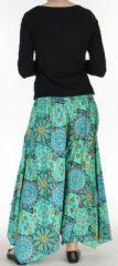 Pantalon femme imprimé coupe extra large turquoise Ameline