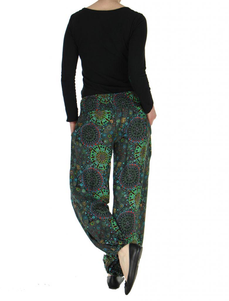Pantalon femme imprimé noir Licia