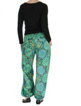 Pantalon femme imprimé turquoise Licia