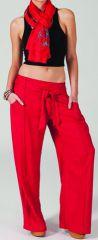 Pantalon femme large Ethnique et Agréable Glenn Rose Foncé 282274