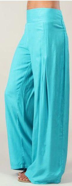Pantalon femme large Ethnique et Original Giovan Turquoise 274677