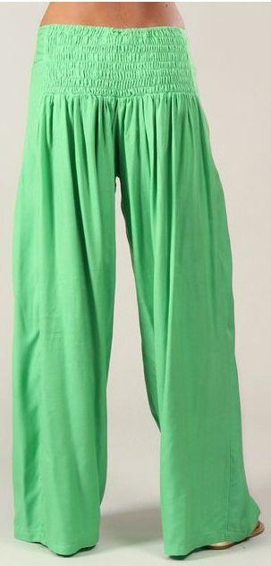 Pantalon femme large Ethnique et Original Giovan Vert 274678