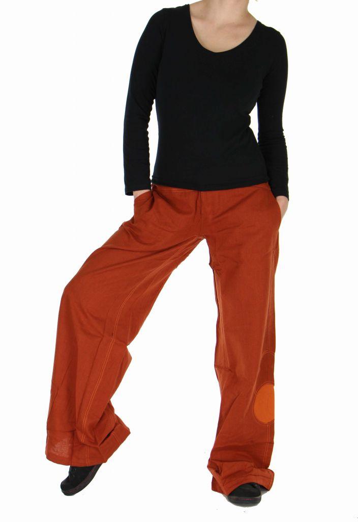 pantalon femme large orange happy. Black Bedroom Furniture Sets. Home Design Ideas