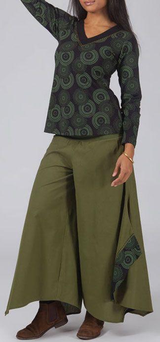 Pantalon femme large pour l\'hiver effet papillon kaki Louka