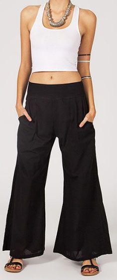 Pantalon femme noir effet évasé en coton léger Gaspa 270730