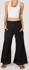 Pantalon femme noir effet �vas� en coton l�ger Gaspa 270730