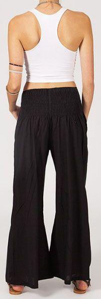 Pantalon femme noir effet évasé en coton léger Gaspa