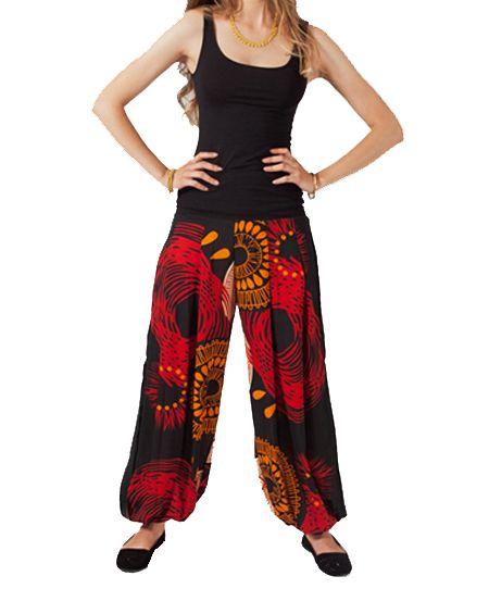 Pantalon femme noir et rouge Anna 267447