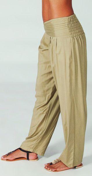 Pantalon femme taille basse Ethnique et Original Giulio Sable 274711