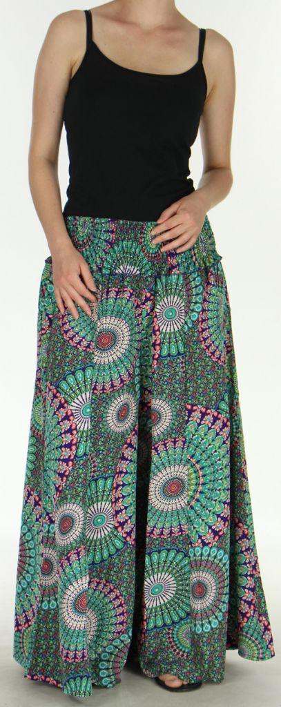 Pantalon Femme très Large Ethnique et Coloré Jorris Mauve et Vert 275472