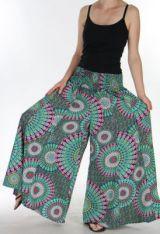 Pantalon Femme très Large Ethnique et Coloré Jorris Mauve et Vert 275473
