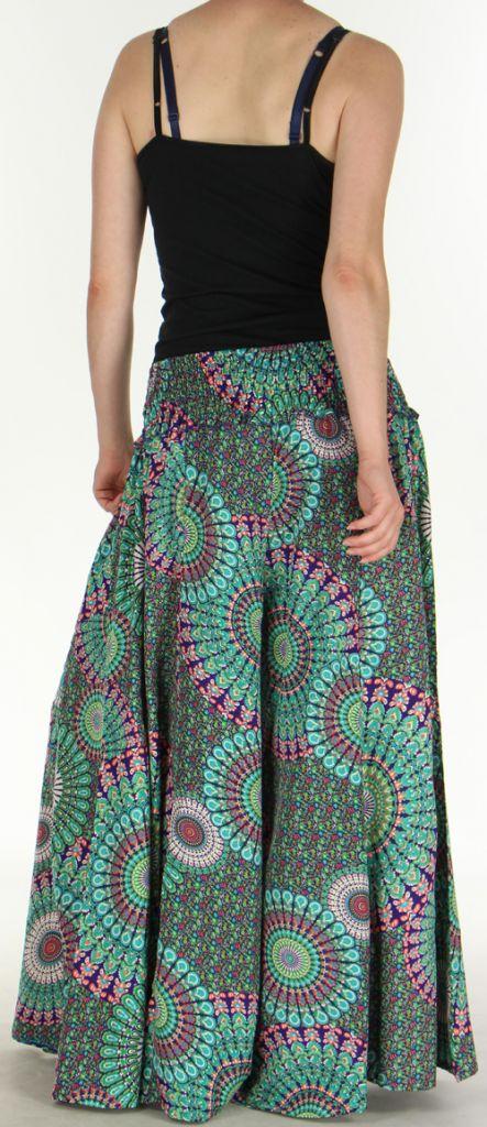 Pantalon Femme très Large Ethnique et Coloré Jorris Mauve et Vert 275474