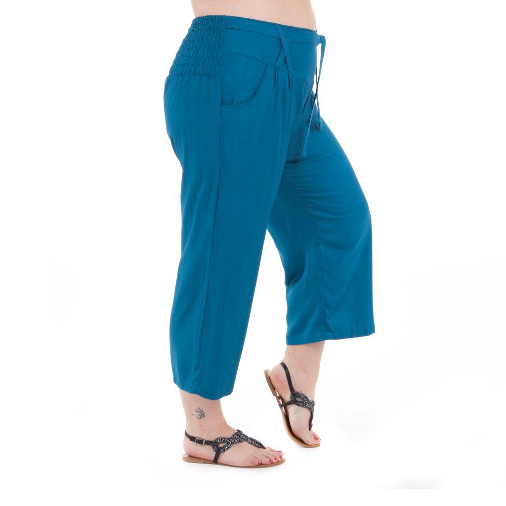 Pantalon femmes rondes coupe 3/4 et smocké petrole Sully 295654