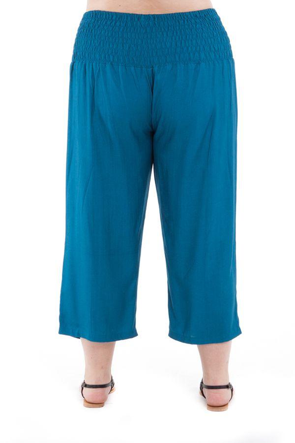 Pantalon femmes rondes coupe 3/4 et smocké petrole Sully 295655