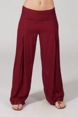 Pantalon Grande taille Ample et Fluide Mina Bordeaux 317386