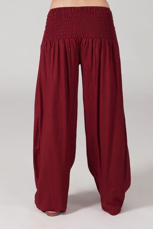 Pantalon Grande taille Ample et Fluide Mina Bordeaux 317387