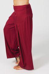 Pantalon Grande taille Ample et Fluide Mina Bordeaux 317388