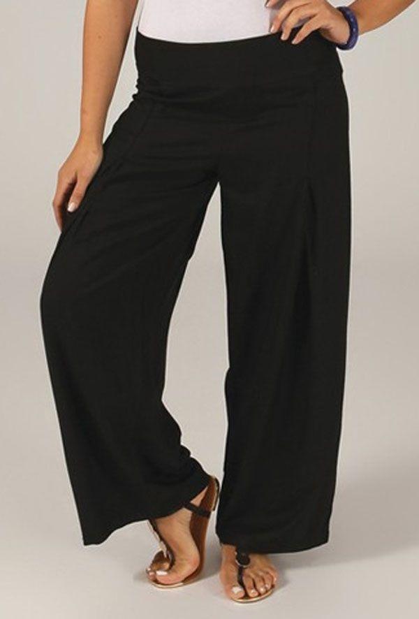 Pantalon Grande taille Ample et Fluide Mina Noir 317392