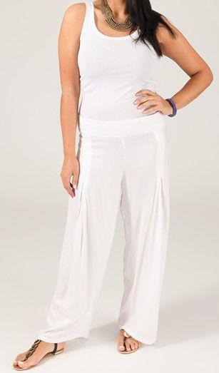 Pantalon grande taille femme taille élastiquée blanc Mina