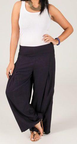Pantalon grande taille femme taille élastiquée bleu marine Mina