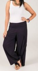 Pantalon grande taille femme taille �lastiqu�e bleu marine Mina