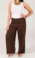 Pantalon grande taille femme taille �lastiqu�e marron Mina