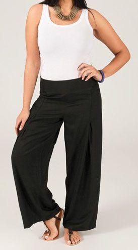 Pantalon grande taille femme taille élastiquée noir Mina
