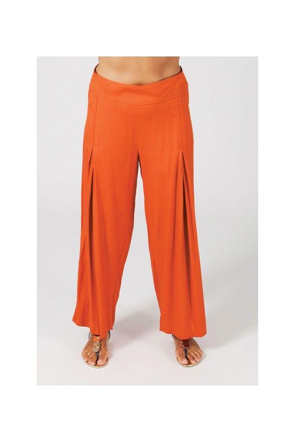 Pantalon grande taille femme taille élastiquée orange Mina 269554