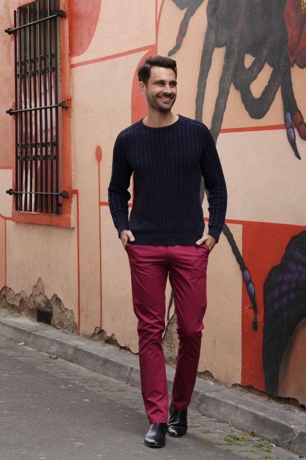 Pantalon homme chino ajusté chic couleur pas cher Brice 314346