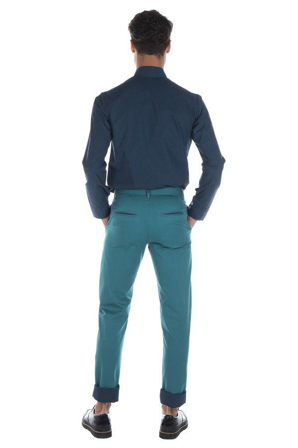 Pantalon homme chino bleu chic fête couleur pas cher Jule 314360